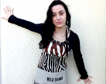 Special Offer and FREE Shipping/Animal Print WILD THING Apron Embroidered Waterproof for Safari Lovers Brown