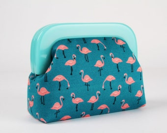 Little purse with resin frame - Little flamingos on teal - Girly purse / Mint green frame / Tropical summer / coral pink