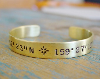 Latitude Longitude Coordinate Bracelet,Brass Cuff,Custom Coordinates,Compass Rose,Hand Stamped,Location Jewelry,Personalized Gift for Her