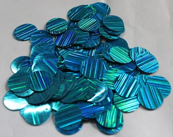 75 Turquoise Color/ Round Sequins/Glittering Lines Texture/ KBRS572
