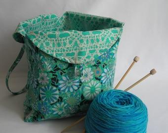 Tulip Bag - project bag - crochet knitting amigurumi WIP bag - yarn holder stash bag - Amy Butler True Colors aqua - free knitting pattern