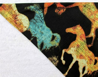 Spirit Horses Horse Pattern Dog Bandana Reversible Tie On Western handkerchief