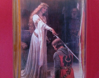 The Accolade Painting by Edmund Blair Leighton Large Rectangle Glass Paperweight