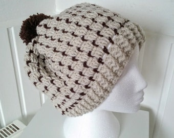 Slouchy Hat,in colours Fawn and Brown