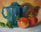 Still Life Art Painting,Green Tea Pot With Fresh Red Apples, Original Canvas Oil Painting by Cheri Wollenberg