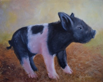 Pig Painting 116,Baby Pig's First Steps,Original Oil On Canvas