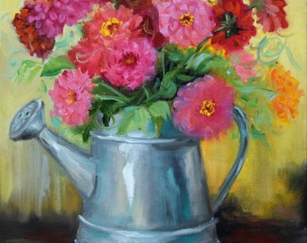 Oil Painting,Still Life Art,Watering Can,Pink And Red Zinnias,Yellow Background,Canvas Original by Cheri Wollenberg