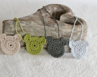 4 Crochet Teddy Bear Applique Motifs