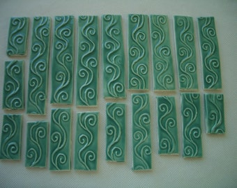 T19 - 19 pc VINES BORDER - Ceramic Mosaic Tiles