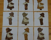 Quilt Blocks   Sunbonnet Sue  Overall Bill   Appliqued with a Blanket Stitich     8 inch blocks