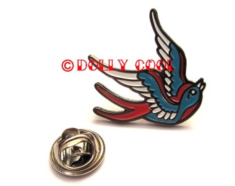 Swallow Enamel Pin Tattoo Style by Dolly Cool Old School Flash Vintage