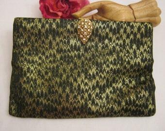 Vintage elegant midcentury woven black gold evening clutch, Koret formal black clutch ornate clasp, retro black gold woven fabric clutch bag