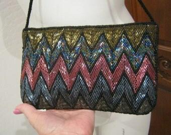 Vintage dressy multi color beading handbag, beaded clutch or shoulder bag, zigzag beaded evening bag, handmade beaded purse, deco look bag