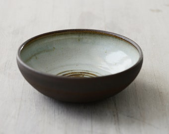 Wheel Thrown Black Mountain Clay Bowl with blueish glaze and spiral