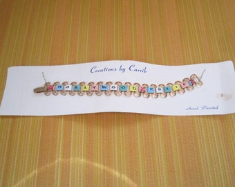 Vintage 1950s Hollywood Calif Souvenir Perfect Link Bracelet on Original Creations by Carrib Card