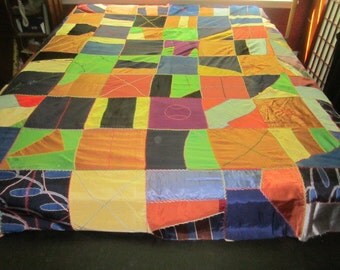 Vintage Colorful Embroidered Crazy Quilt Top for Repair