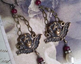Eros - Ruby and Pearl Earrings