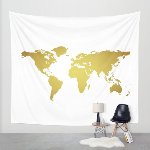 Faux gold foil world map wall tapestry wall hanging world like this item gumiabroncs Choice Image