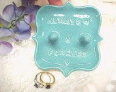 Double Post Jewelry Storage - His and Hers Ring Holder - Always & Forever - Aqua Turquoise Glaze