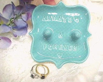 Pottery Ring Holder Dish - Double Post - Gift for Couple - Ring Storage - Turquoise Blue - Jewelry Dish - Stamped Words  'Always & Forever'