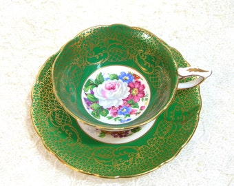 Royal Stafford Teacup And Saucer Bouquet Green Empress Gold