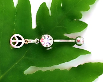Peace Symbol, Sterling Silver, Navel Ring Dangle, Crystal Gems