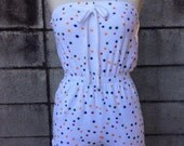 Terry Cloth Romper 1970s Cotton Summer Star Print short Jumpsuit tube top