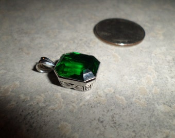 14k white gold emerald green glass PENDANT necklace charm