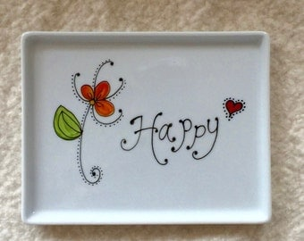 Happy porcelain tray hand painted