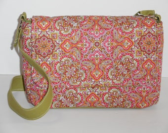 Purse with Flap Shoulder Bag Crossbody Medium-Sized Bag Quilted Pink, Lime and Orange Design Many Pockets Adjustable Strap Ready to Ship