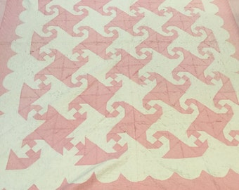 Antique Quilt - cutter - Pink and White
