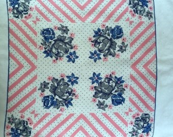 Vintage Pink White and Blue Handkerchief with Blue Flowers