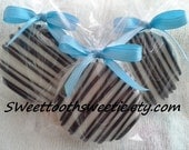 Black And Turquoise Chocolate Covered Oreos Cookies Wedding Favors Black Zebra Quinceanera Favors Sweet 16 Party Favors Baby Shower Cookies