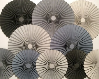 Shades of Grey Paper Fans / Rosettes - Wedding, Bride, Baby Shower, Nursery, Desert Table, Party Backdrop Decoration (Set of 10)