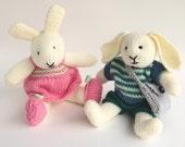 Toy Knitting Pattern, Rabbit Knitting Pattern, ROBERT and ROSIE, Knit Bunny Pattern, PDF Knitting Pattern for dressed rabbits