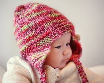 Earflap Hat PDF Knitting Pattern, Baby Hat Pattern, Girls Hat Pattern, Ladies Hat Pattern, Knit Earflap Hat PDF Pattern - FREYA