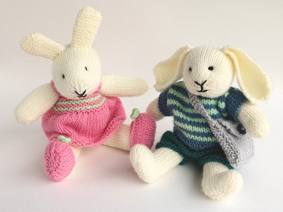 Toy Knitting Pattern, Rabbit Knitting Pattern, ROBERT and ROSIE, Knit Bunny Pattern, PDF Knitting Pattern for dressed rabbits