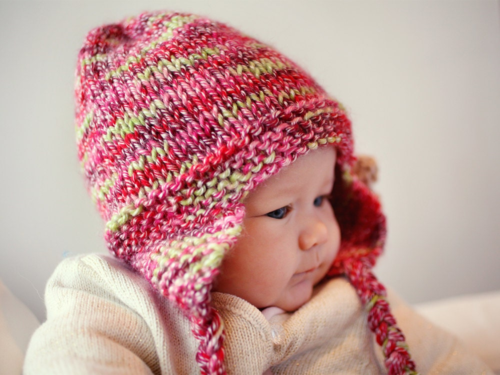 Knitting Patterns For Toddler Girl Hats : Earflap Hat PDF Knitting Pattern Baby Hat Pattern Girls Hat