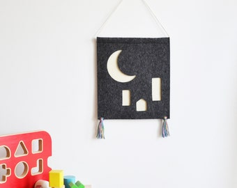 Crescent Moon Over the City - Children's Wall Hanging