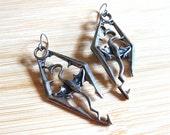Fantasy Dragon Hand Painted Earrings Elder Scrolls Gunmetal Pewter Tibetan Silver