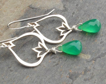 Green Onyx Sterling Silver Earrings - Lotus