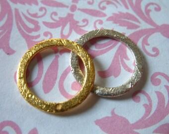 1 pc, Circle Connector Circle Link Circle Pendant Circle Charm, 24k Gold Vermeil, 15 mm, brushed, bali artisan organic.neckconnst n450