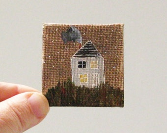 november house  / MINIATURE painting on canvas panel