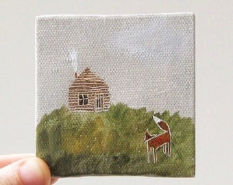 fox and cabin / small painting on canvas