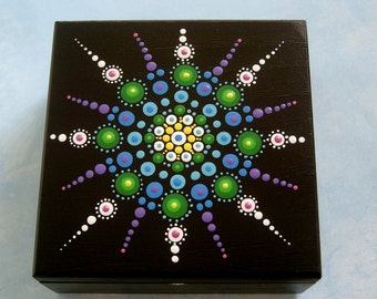 Valentines Day, Wood jewelry box, hand painted wooden trinket stash treasure box, ooak mandala art, Valentine gift ideas, for Him, for Her