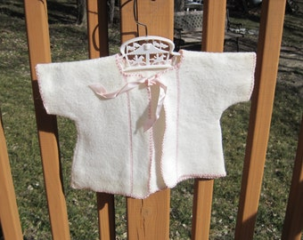 Adorable Vintage Baby or Doll Cream and Pink Wool Cardigan with Silky Ribbon TIe