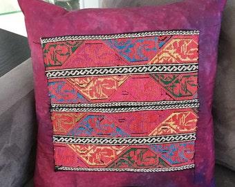 Bedouin Embroidery Pillow Vintage | Pink Multicolor Tribal Art Ethnic Design Folk Art | Hand Dyed Boho Southwestern Middle East Textile Art