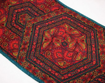Quilted  table runner Hexagon Kaleidoscope red teal and gold Quiltsy handmade
