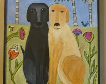 "FREE SHIPPING, Original Whimsical Folk Art Dog Painting 18""x20"" Black Lab, Yellow lab"