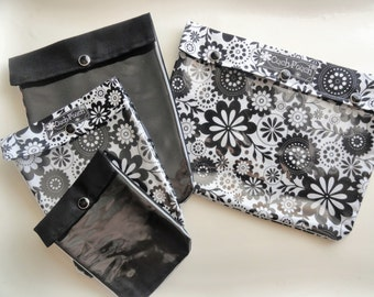 Black & White Floral 4 Piece Ouch Pouch Set Clear Pocket Travel Organizer Bags for First Aid Medications Diapers/Wipes Snacks